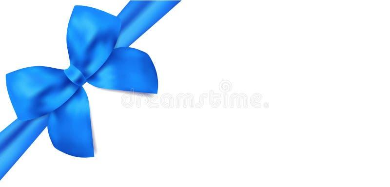 Подарочный сертификат/подарочный купон. Голубой смычок, ленты иллюстрация вектора