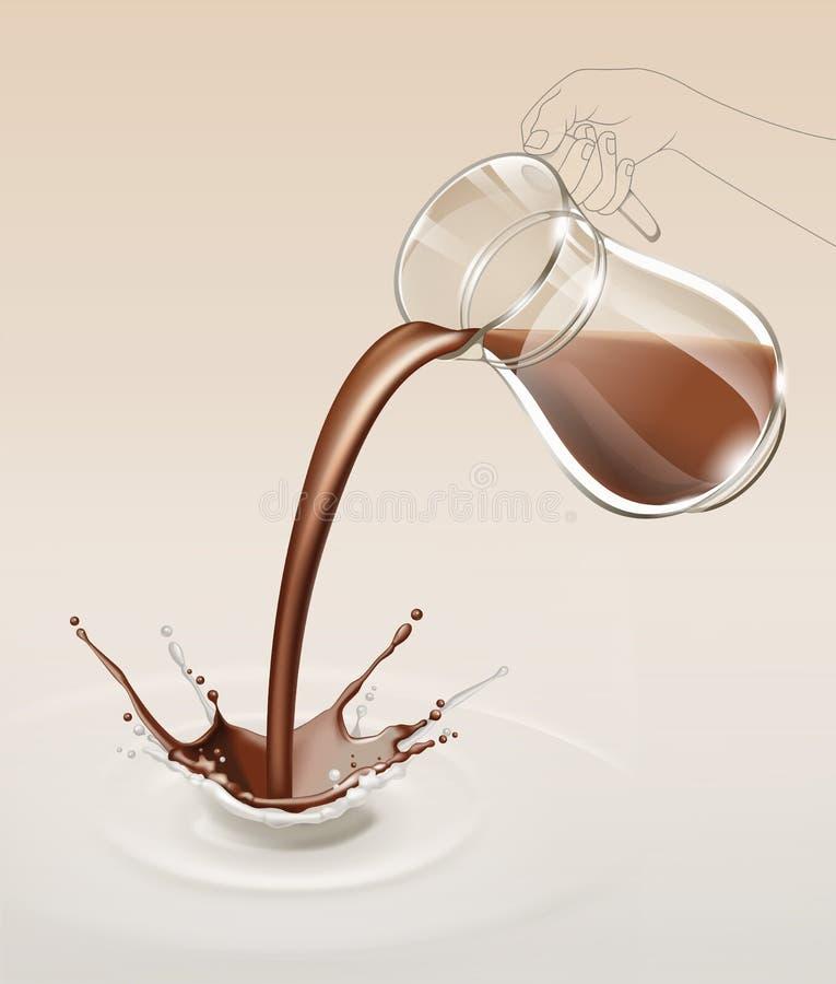 Подача потока выплеска молочного шоколада вектора от стеклянного кувшина иллюстрация вектора