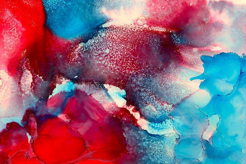 Подача текстурированная конспектом покрашенная красная голубая иллюстрация вектора