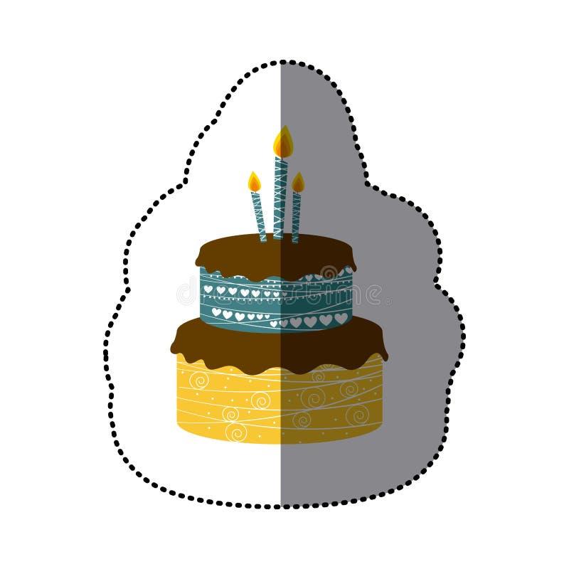 пола именниного пирога 2 изображения стикера красочные с свечами иллюстрация штока