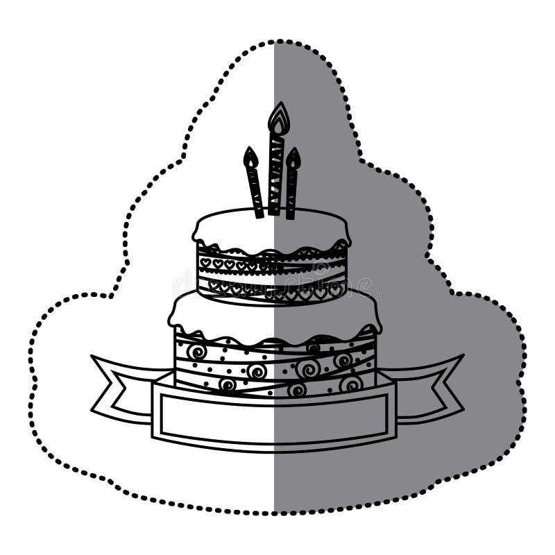 пола именниного пирога 2 силуэта стикера с свечами и лентой иллюстрация штока