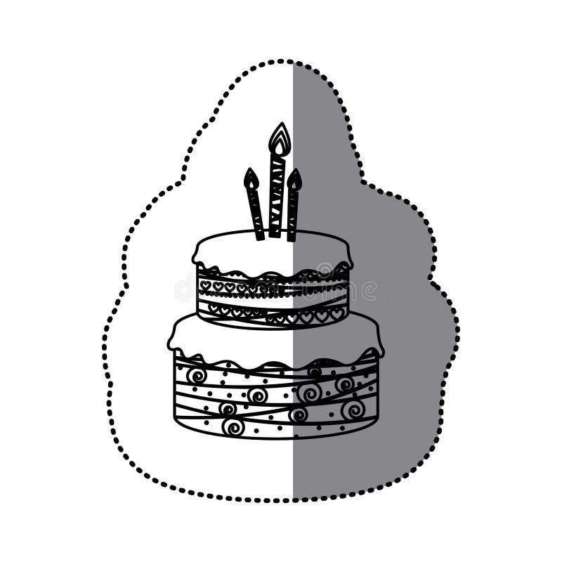 пола именниного пирога 2 силуэта стикера с свечами бесплатная иллюстрация