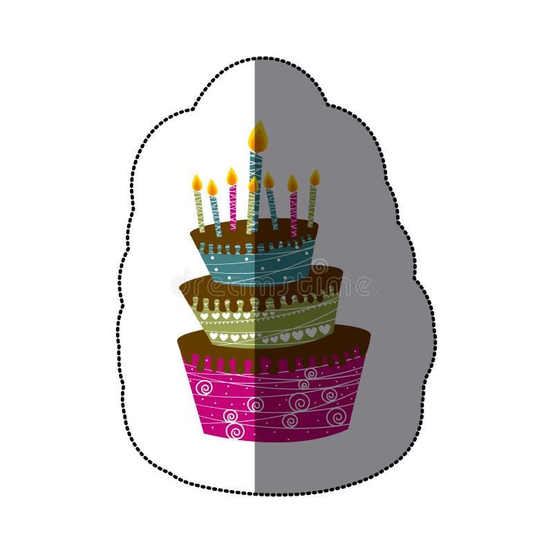 пола торта 3 стикера красочные с свечами иллюстрация штока