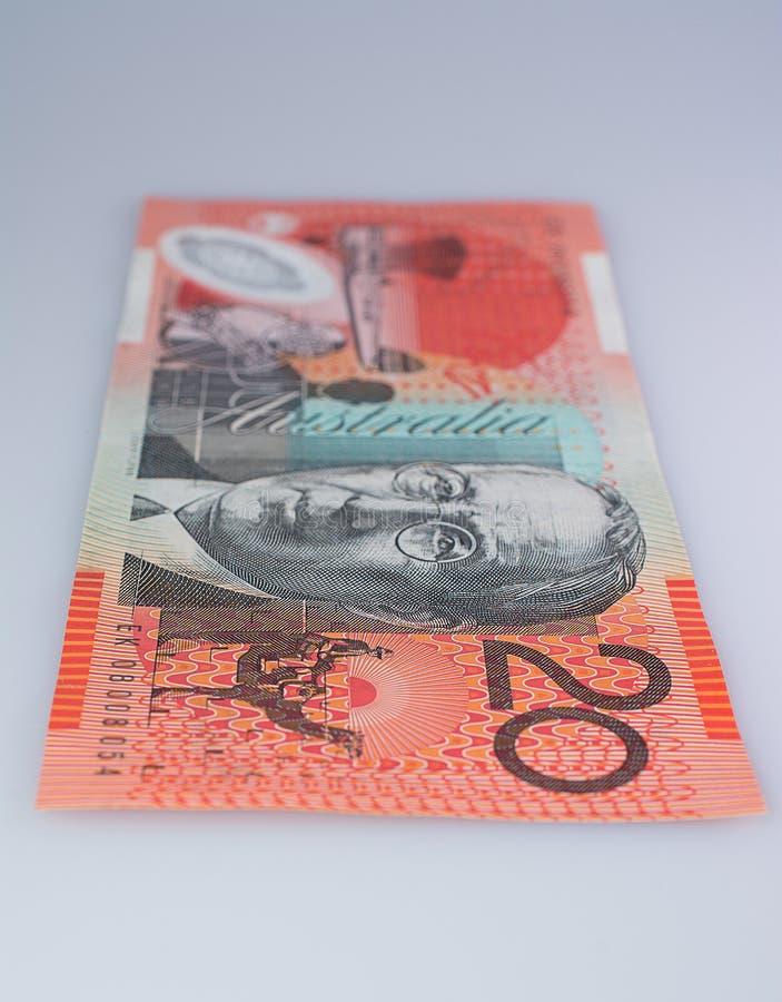 По вертикали австралиец банкнота 20 долларов стоковое изображение