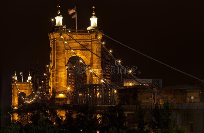 подвес cincinnati john Огайо моста roebling Мост Roebling стоковые изображения rf