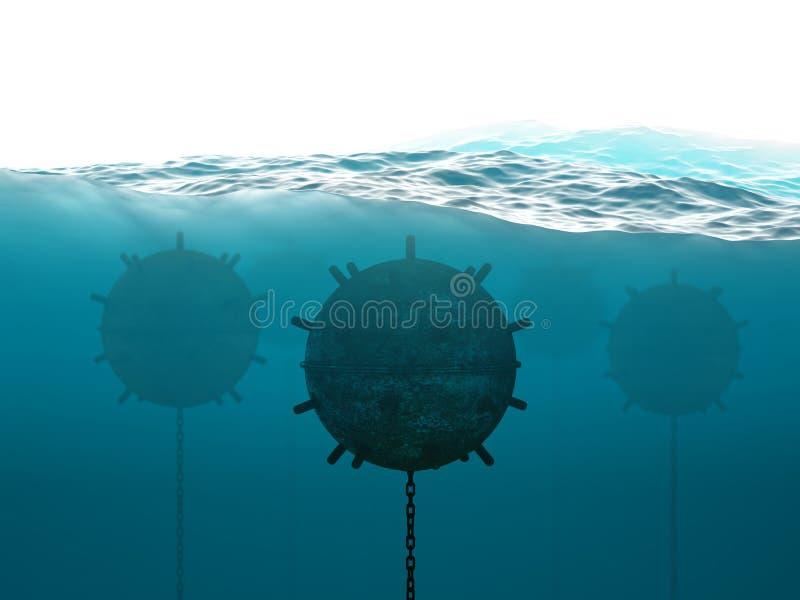 Подводная концепция минного поля иллюстрация штока