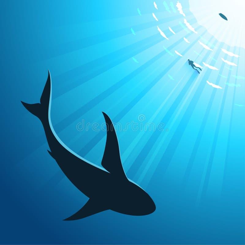 Подводная предпосылка глубокого моря с водолазом и акулой иллюстрация штока