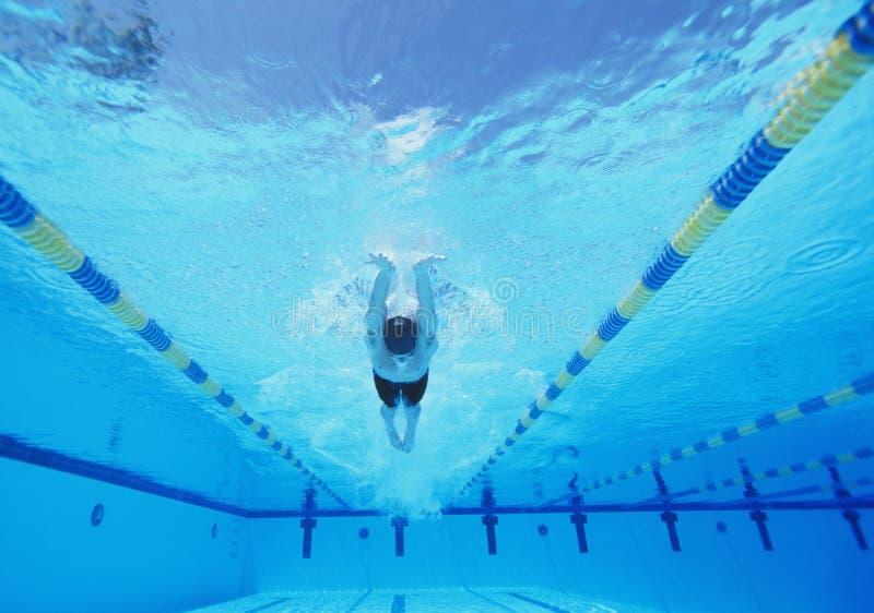 Подводная съемка молодого мужского заплывания спортсмена в бассейне стоковое изображение rf
