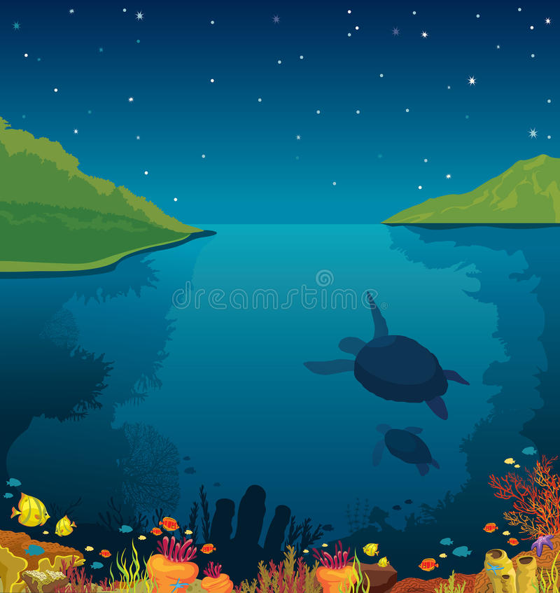 Подводное море, черепахи, коралловый риф, остров, ночное небо иллюстрация вектора
