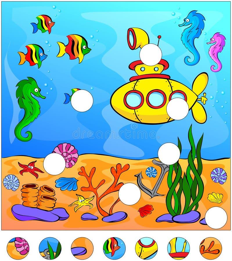 Подводные мир и подводная лодка: завершите головоломку иллюстрация штока
