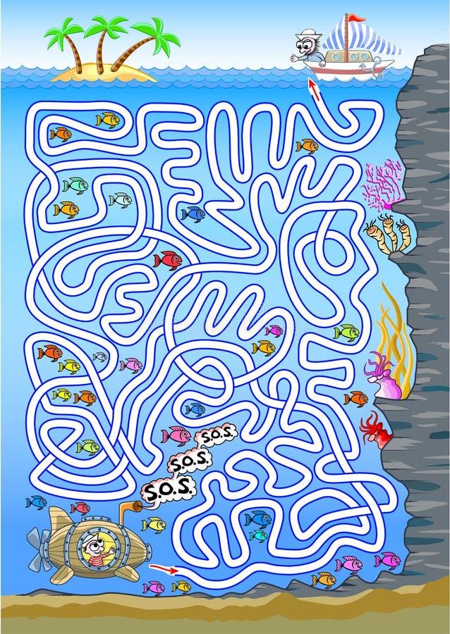Подводный лабиринт для детей иллюстрация штока