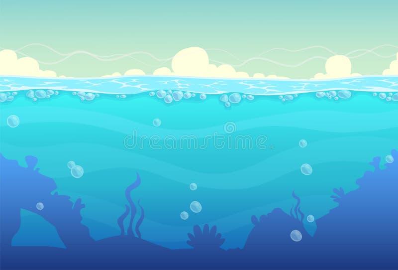 Подводный безшовный ландшафт иллюстрация штока