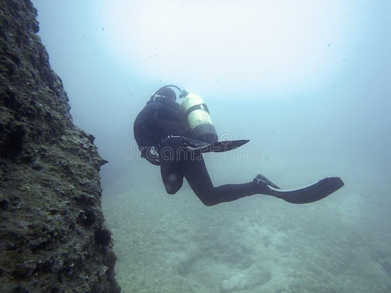 Подводный водолаз в подводном мире стоковые фотографии rf