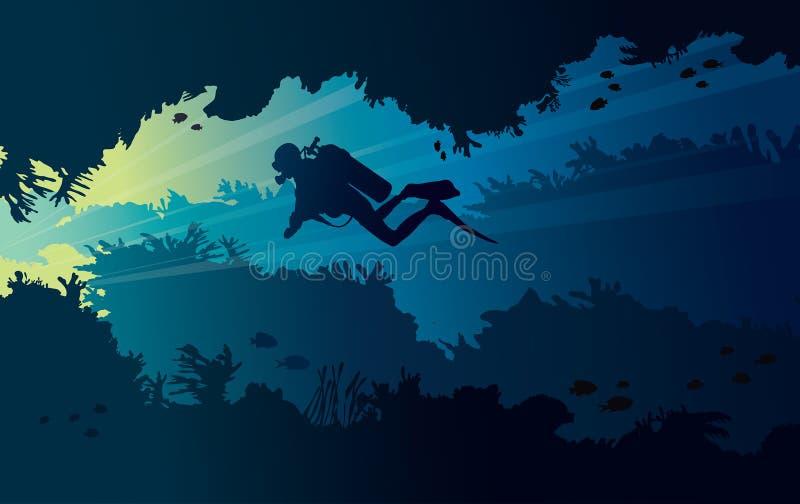 Подводный водолаз пещеры и акваланга бесплатная иллюстрация