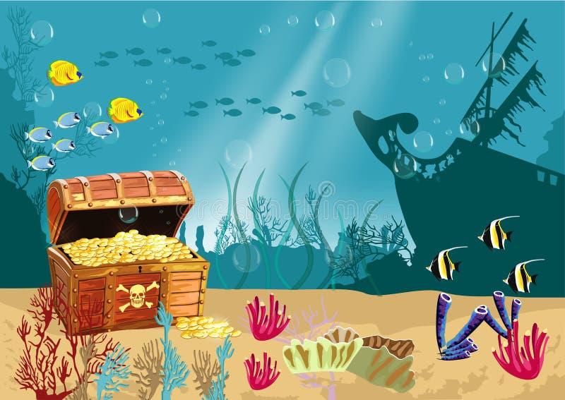 Подводный пейзаж с открытым сундуком с сокровищами пирата иллюстрация штока