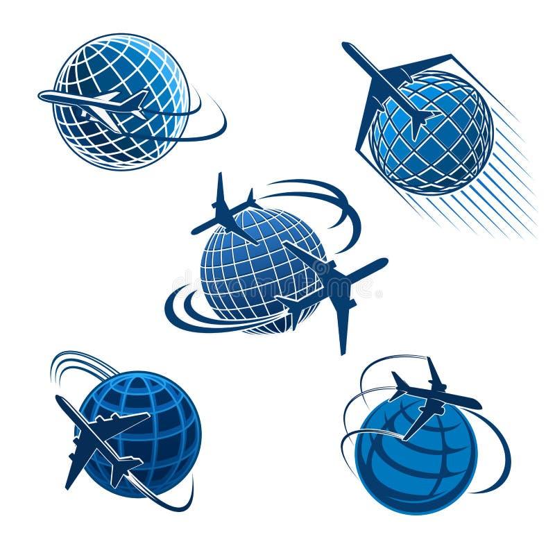 По всему миру значок перемещения с самолетом и глобусом бесплатная иллюстрация