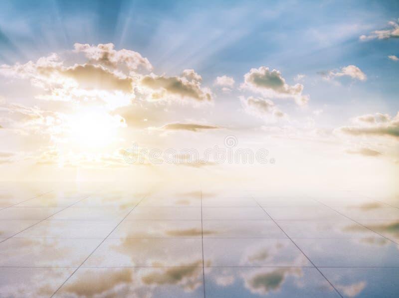 Пол голубого неба и miror стоковое изображение