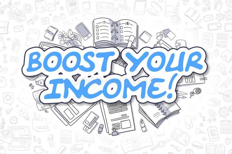 Поддержите ваш доход - текст сини Doodle владение домашнего ключа принципиальной схемы дела золотистое достигая небо к иллюстрация вектора