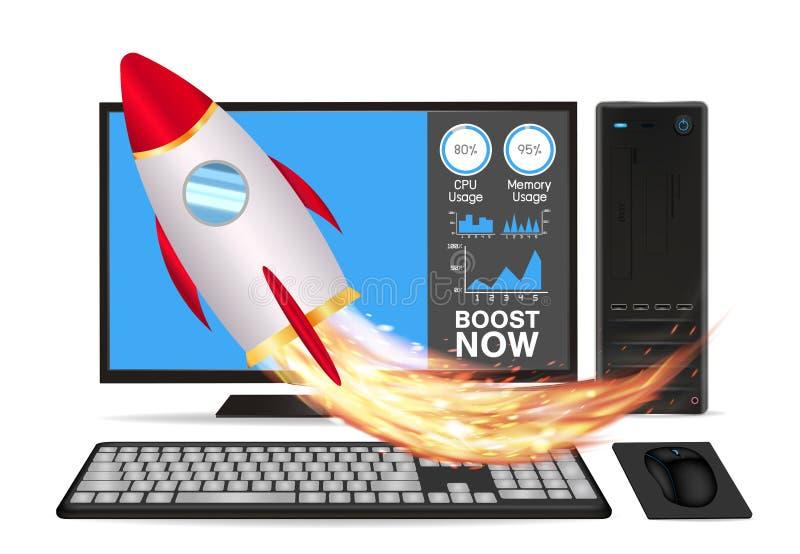 Поддержите настольный компьютер скорости с ракетой игрушки иллюстрация вектора