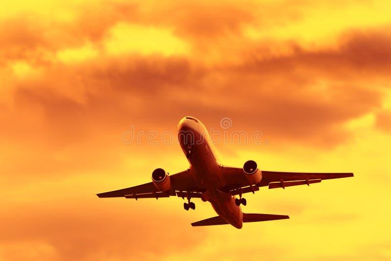 Полет на время захода солнца стоковое изображение rf