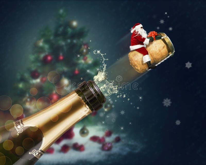 Полет Санта Клауса иллюстрация штока