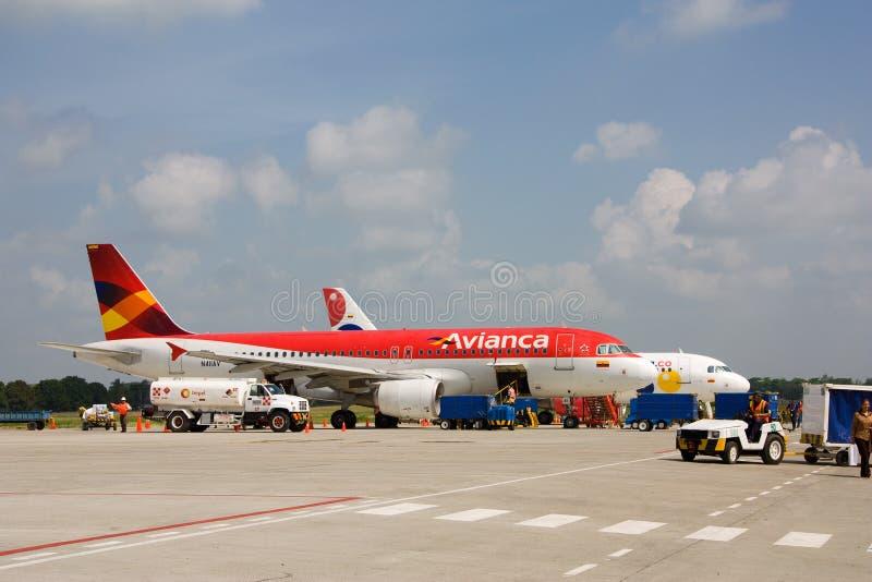 Полет Avianca на авиапорт monteria стоковое фото rf