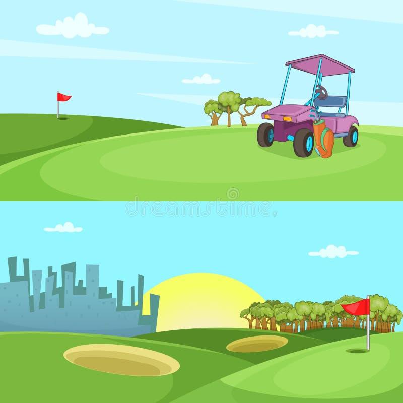 Поле горизонтальной знамени гольфа установленная, стиль шаржа иллюстрация штока