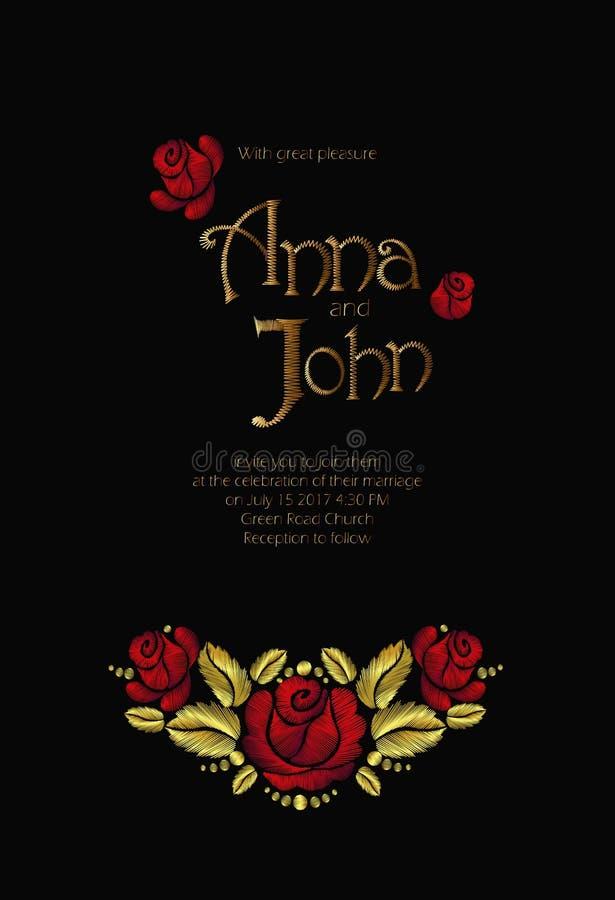 Поле цветет приглашение свадьбы Сохраньте дизайн поздравительной открытки даты флористический Вышивка v розы дикой собаки деревен иллюстрация вектора