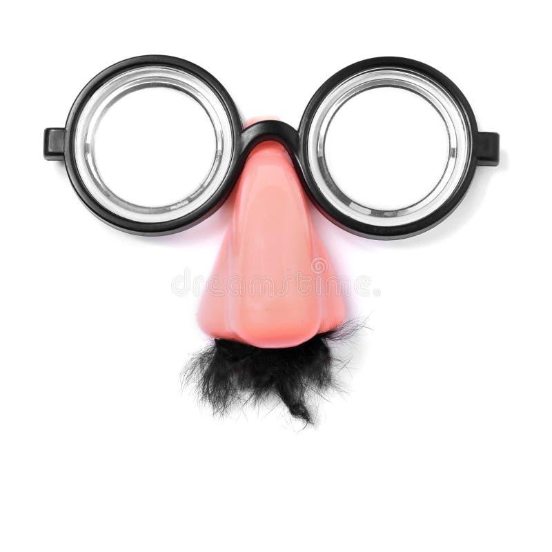 Поддельные недальновидные стекла, нос и усик стоковое изображение rf