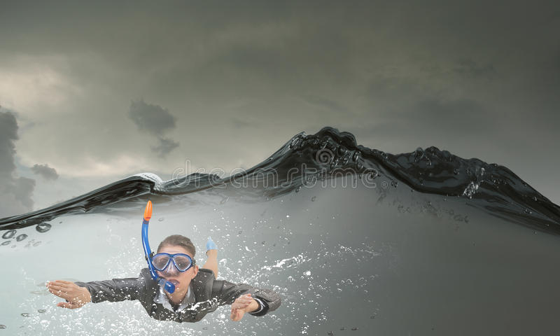 под женщиной воды Мультимедиа стоковое фото rf