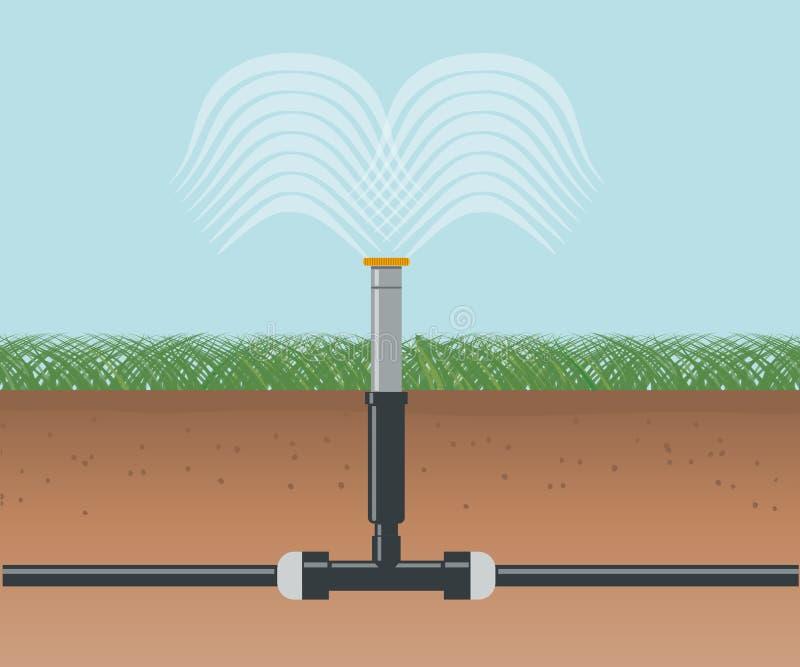 Полив воды Автоматический сыстем опылительного орошения иллюстрация штока