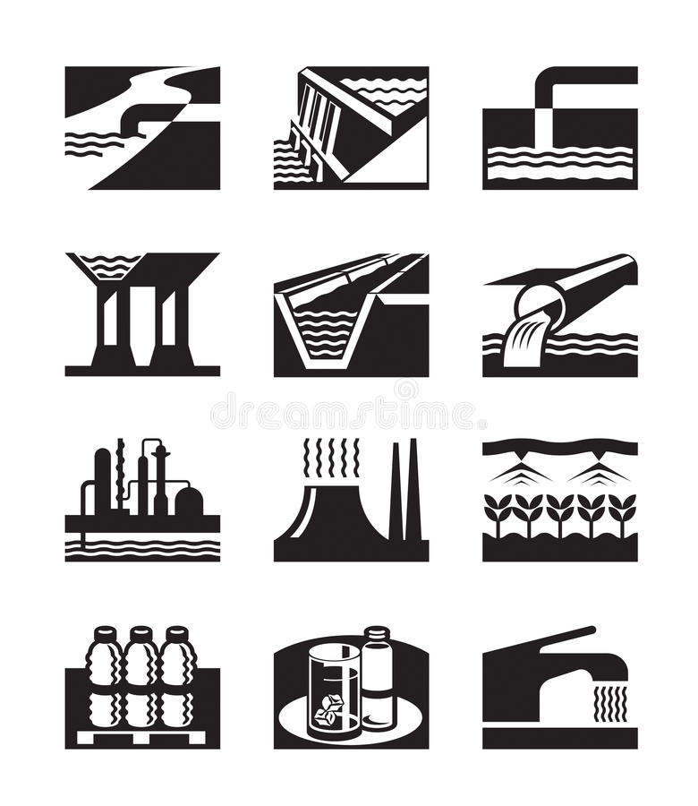 Полив, трубопровод и водоснабжение иллюстрация штока