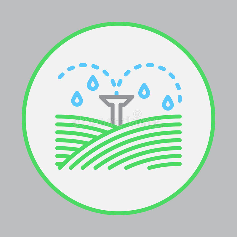 Полив sprinklers заполненный значок плана, круглый красочный знак вектора, круговая плоская пиктограмма иллюстрация штока