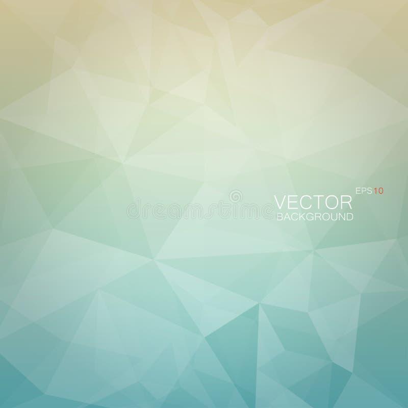 Полигональная геометрическая предпосылка с фоном света - голубым и бежевым градиента иллюстрация вектора