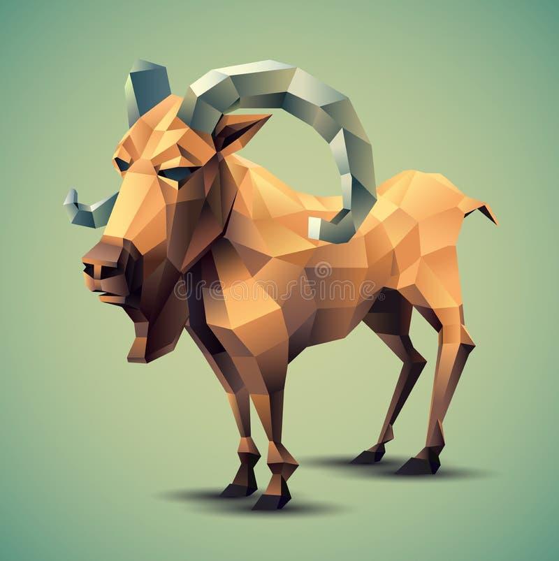 Полигональная коза иллюстрация вектора