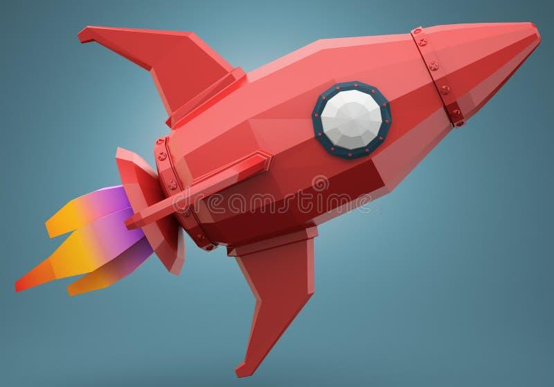 Полигональная ракета космоса иллюстрация вектора