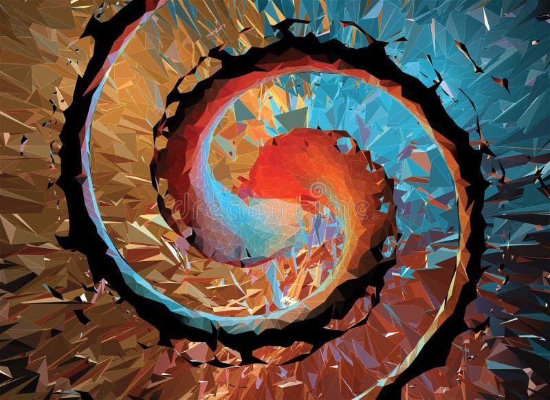Полигональная спиральная абстрактная предпосылка с белым wireframe иллюстрация вектора