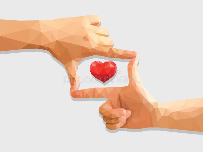 Полигональные держа руки любят директор в низком поли красном сердце иллюстрация штока