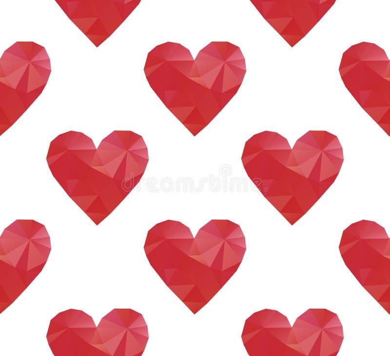 Полигональные красные сердца иллюстрация вектора