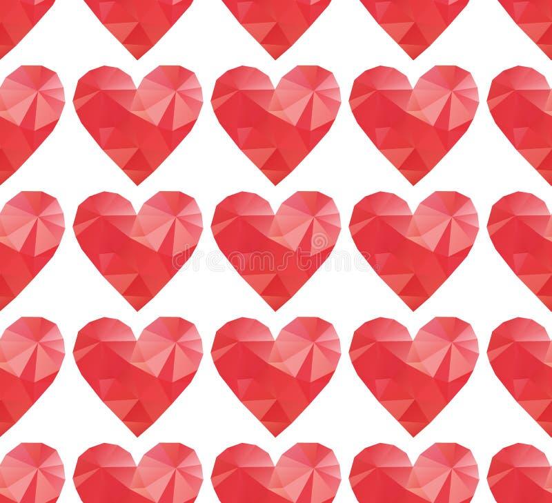 Полигональные красные сердца иллюстрация штока