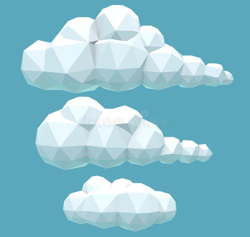 Полигональные объемные облака иллюстрация вектора