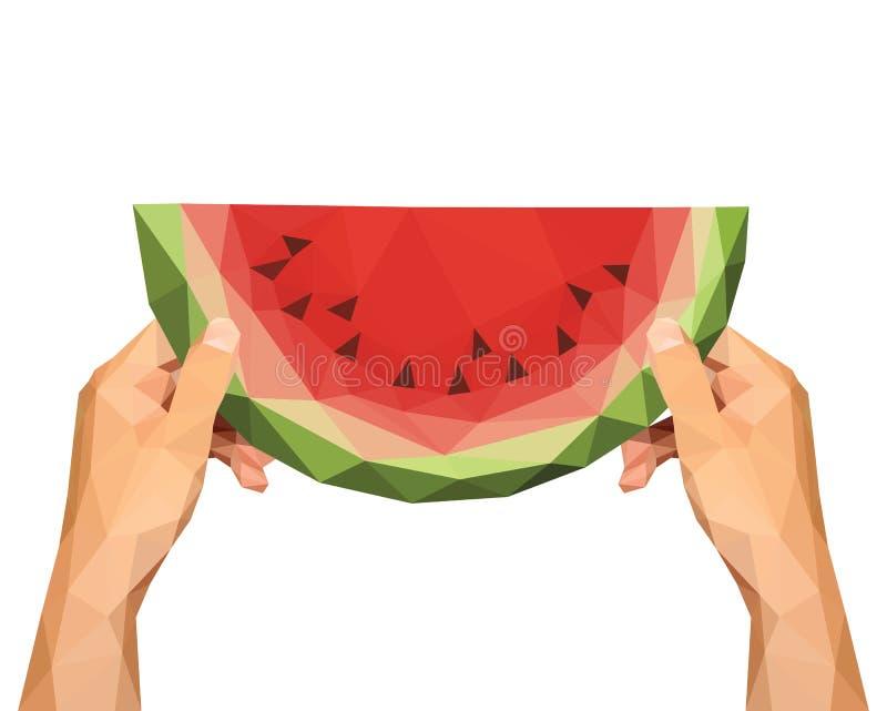 Полигональные руки для того чтобы держать низкий поли кусок арбуза на белизне бесплатная иллюстрация