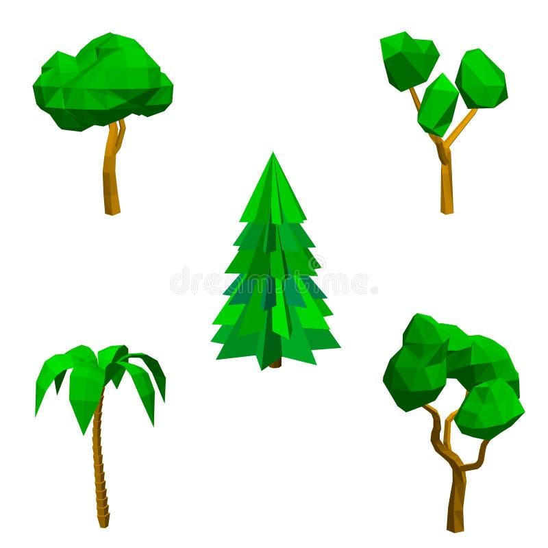 Полигональные установленные деревья белизна изолированная предпосылкой беда вектора 3d иллюстрация штока