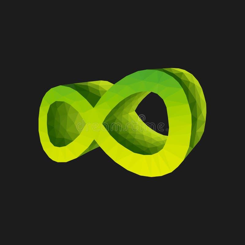 Полигональный знак зеленого цвета 3d безграничности объемного на черном backgrou иллюстрация вектора