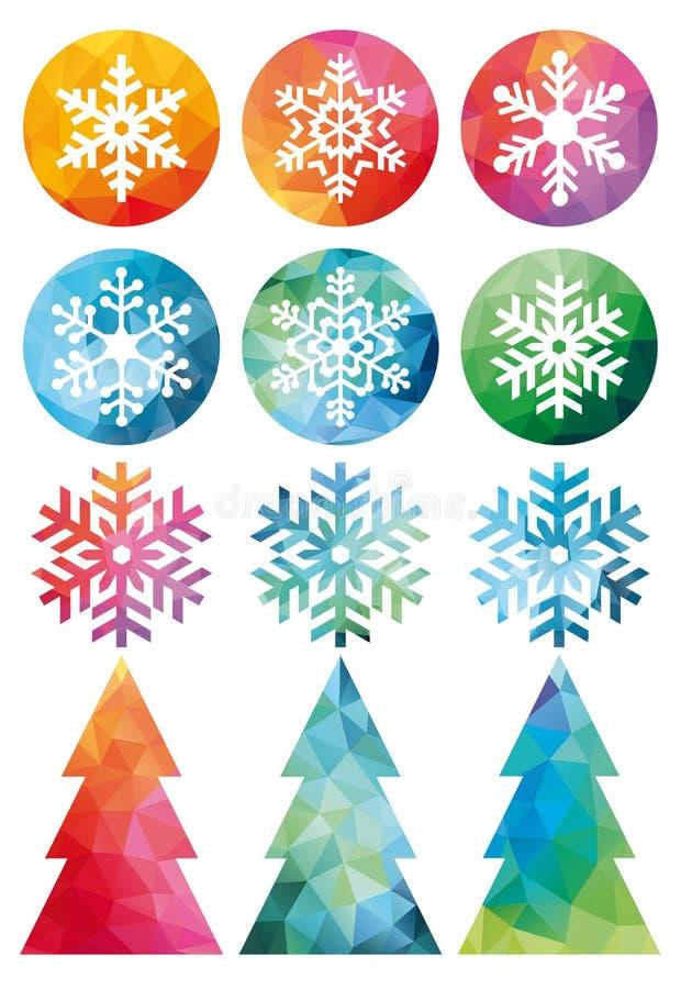 Полигональный комплект рождества, вектор иллюстрация вектора