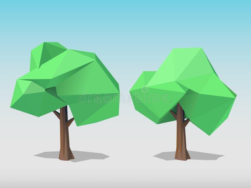 2 полигональных дерева иллюстрация вектора