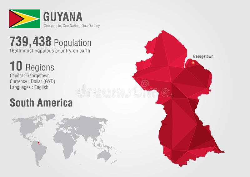 Полигон карты мира Гайаны с ромбовидным узором стоковые фотографии rf