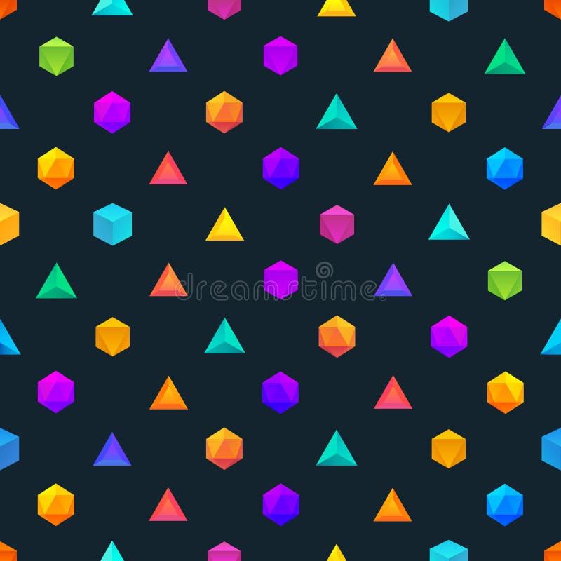 Полигон 3d возражает безшовную геометрическую картину иллюстрация вектора
