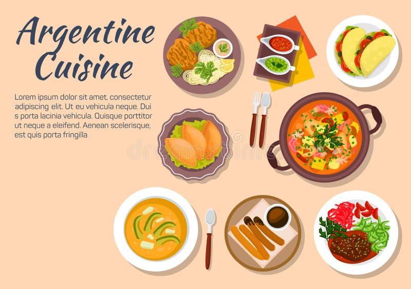 Подлинные блюда кухни Аргентины иллюстрация вектора