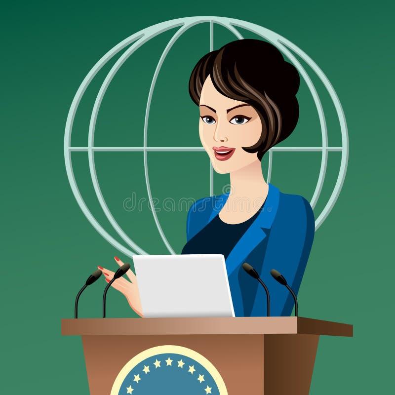 Политик женщины иллюстрация вектора